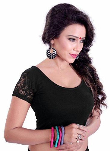 Fressia Fabrics Women's Cotton Saree Blouse (100_HALF_BlackK_Black)