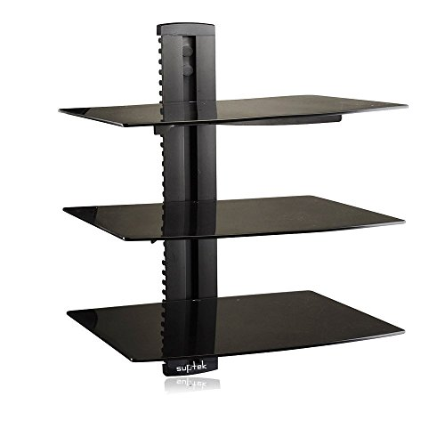 Suptek Wandregal TV Rack Glasregal Schwarz (3 Ablageböden) Wandhalterung ndregal TV Board Hifi Rack Glasregal DVD-Player-Regal / DVD-B3 / Wandhalterung TV Möbel Regal DVD Bluray Player Wandregal Hifi Geräte / inkl. Kabelkanal / Sicherheitsglas / Schwarz /CS203