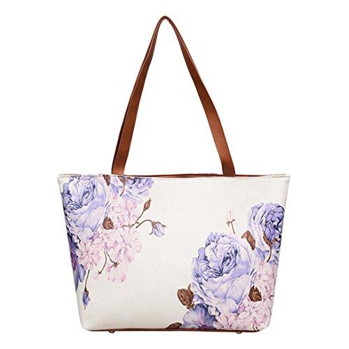 Große Förderung SANFASHION Mädchen Frauen Leder Vintage Blume Malerei Tasche Schultertasche Handtasche