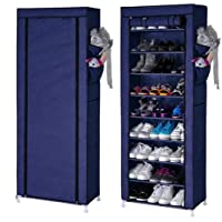 Aysis Multipurpose Portable Folding Shoes Rack 9 Tiers Multi-Purpose Shoe Storage Organizer Cabinet Tower with Iron and Nonwoven Fabric with Zippered Dustproof Cover Color Navy Blue