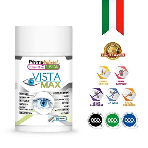 VistaMax | Potente ottimizzatore e protettore della visione | Rinforza il tessuto oculare | Migliora la visione diurna e notturna | Trattamento per la salute degli occhi | Formula esclusiva | 60 unità