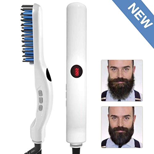 Alisador de barba, cepillo alisador de pelo multifuncional, peine alisador de barba, peine eléctrico de estilo rápido con pantalla LED y ajustes de control de temperatura
