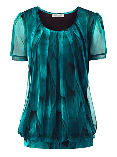 BAISHENGGT Damen Falten Kurzarmshirt Rundhals Kragen Stretch Tunika Bluse Kurzarm Pfauenblau XL