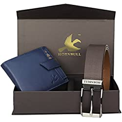 Hornbull Men's Blue Wallet and Brown Belt Combo BW30101