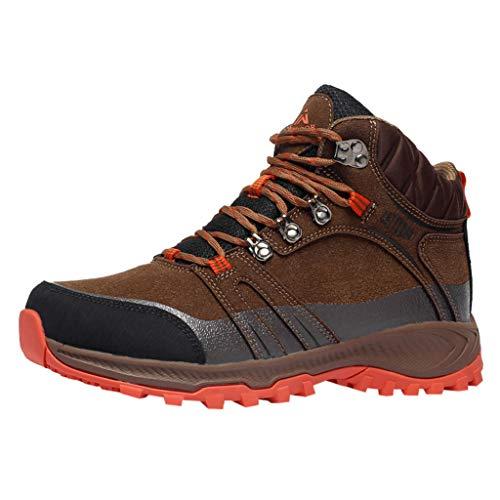 HDUFGJ Wanderschuhe Winter Plus Samt Warm rutschfeste Trekkingschuhe für Herren Damen Outdoor Wasserdicht Trekking- & Wanderstiefel Sneaker Wasserdicht Outdoor Schuhe42 EU(Braun)