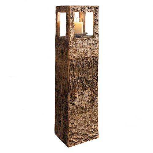 SIDCO Windlicht Säule Birkenrinde Kerzenhalter Kerzenständer XL Holz Laterne groß