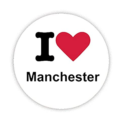 I LOVE MANCHESTER Button Badge 38mm Small Pinback Pin Back Lapel Novelty Gift