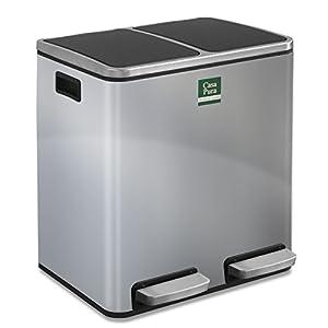 casa pura Abfalleimer Felix | Edelstahl Mülleimer mit Pedal | 2 Fach Mülltrennsystem für Küche und Büro | 30 oder 60 Liter | Trend Farben zur Auswahl (60 L - Silber)