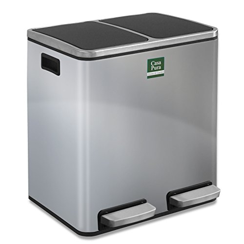 Abfalleimer Felix | Edelstahl Mülleimer mit Pedal | 2 fach Mülltrennsystem für Küche und Büro | 30 oder 60 Liter | Trend Farben zur Auswahl (60 L - Silber)