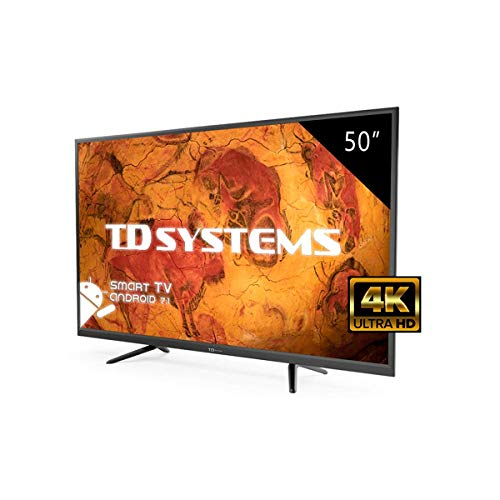 Televisor Led 50 Pulgadas Ultra HD 4K Smart TD Systems K50DLY8US. Resolución 3840 x 2160, 3X HDMI, VGA, 2X USB, Smart TV.