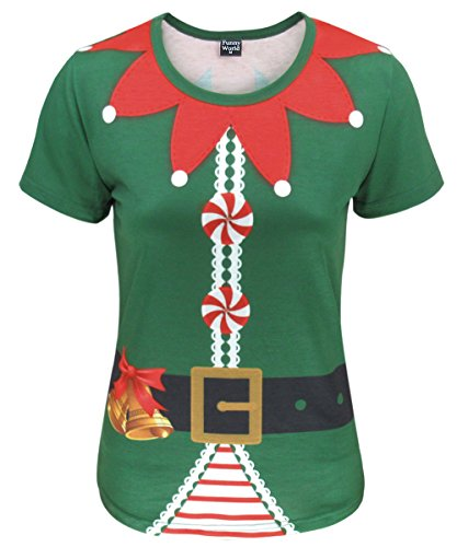 Funny World Damen Weihnachten Elfe Kostüm T-Shirts (XL, Grün)