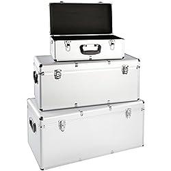 Juego de 3cajas de aluminio para herramientas (aluminio caja de transporte Caja de almacenamiento Caja de almacenamiento con cerradura