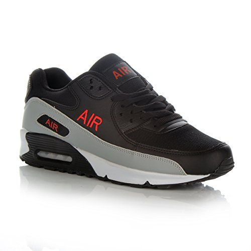 Mens Shock Absorbing Air Running Trainers Jogging Gym Fitness Trainer New Shoes (9 UK, Black/Red)