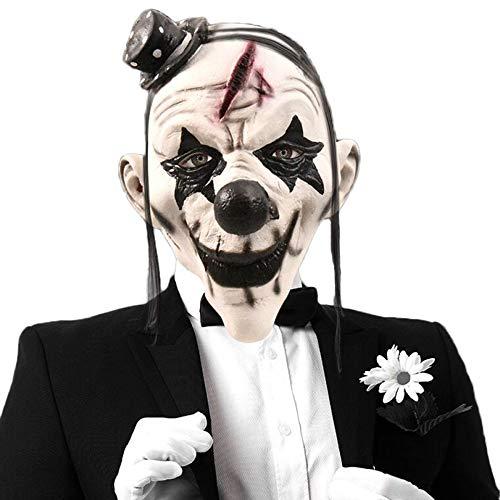 l Clown Maske Latex Horror Geist Scary Terror Kopfbedeckungen Maskerade Thema Party Kostüm Prop,A-OneSize ()