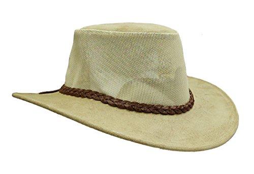 Kakadu Sun Downer Lederhut Bendigo mit luftigem Netzeinsatz im Block | Made in Australia (Herren 10 Tasche Leder Weste)
