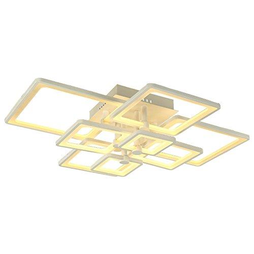 LED Deckenleuchte 6087-8 97*76 cm H 19 cm 100 W mit Fernbedienung Lichtfarbe/Helligkeit einstellbar, Acryl-Schirm, weiß lackierter Metallrahmen (6087-8 97*76 cm H 19 cm 100 W)