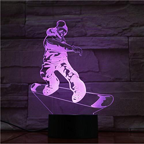 Schlafzimmer dekorative led nachtlicht sport snowboarden 3d illusion led tischlampe touch sensor basis nachtlicht für kind geschenk kind -