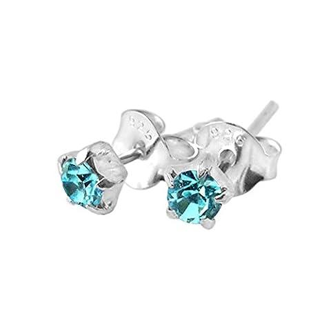 3MM Star Set Aquamarine Gemstone MARCH Birthstone 925 Sterling Silver Post Earrings