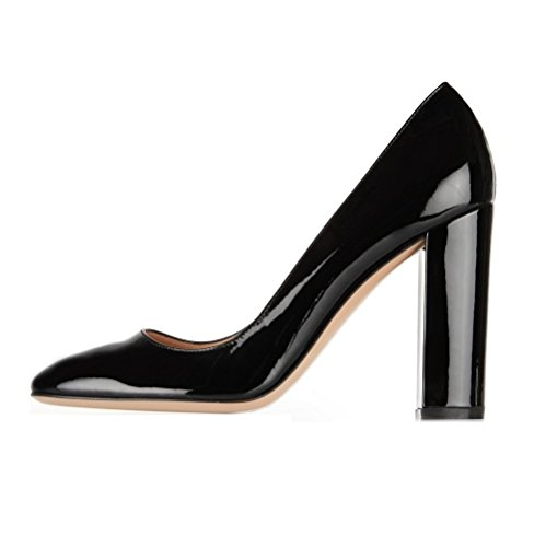 EDEFS Damen Blockabsatz Pumps Runde Toe 100mm Chunky Heels Pump Partei Hochzeitskleid Schuhe Black