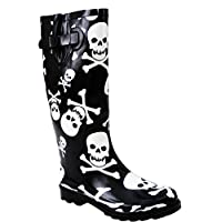 New Womens Ladies Ajustable Calf Snow Rain Mud Festival Waterproof Wellington Boots Wellies Sizes UK 3-8 (UK 7, Black/White Skull)