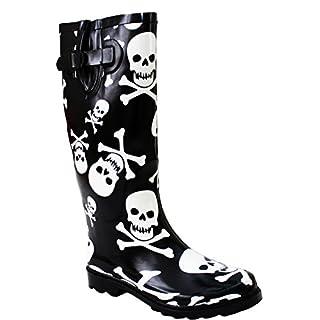 Ladies Womens New Adjustable Calf Waterproof Rubber Festival Rain Mud Snow Girls Wellington Boots Wellies - Sizes UK 3-8 (UK 4, Black/White Skull)