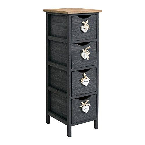 Rebecca mobili cassettiera comodino 4 cassetti legno paulownia grigio shabby camera bagno ingresso (cod. re4560)