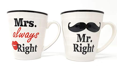 DWT-Germany 101252 Mr Right & Mrs Always Right Tassen Set Porzelanbecher Kaffeetasse Kaffeebecher Teetasse