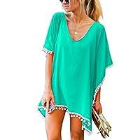 Tkiames Women Chiffon Tassel Swimsuit Cover up Beach Cover Bikini Stylish Bathing Suit (One Size, Green)