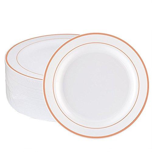 WDF 60pcs Einweg Kunststoff bowls-12oz Suppentellern-Rose Gold Trim Real China Design-PREMIUM Heavy Duty Kunststoff Teller Für Hochzeiten/Partys 7.5