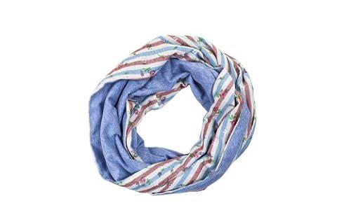 """Loop-Schal/Loopschal/Loop Schal Damen """"Flowers and Stripes"""" Blumen und Streifen Muster 140 x 32 cm 100% Baumwolle Blau Rot Weiß Fairtrade Ringelsuse"""