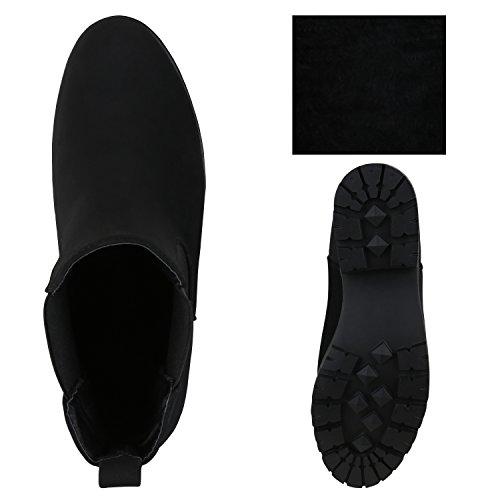 Stiefelparadies Damen Chelsea Boots Plateau Stiefeletten Profilsohle Schuhe Velours Metallic Booties Knöchelhohe Stiefel Blockabsatz Plateauschuhe Flandell Schwarz