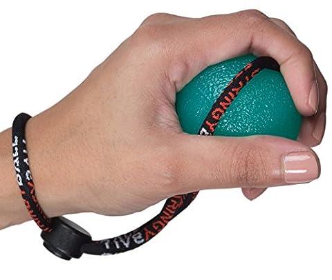 stringyball Stress Bälle an einer Kette–Perfekt für Stress Relief, Hand Übung, Stärkung, Rehabilitation–Soft, Medium und festen Kugeln mit Guide–kein Falling/Wegrollen, Green - Single Medium Ball
