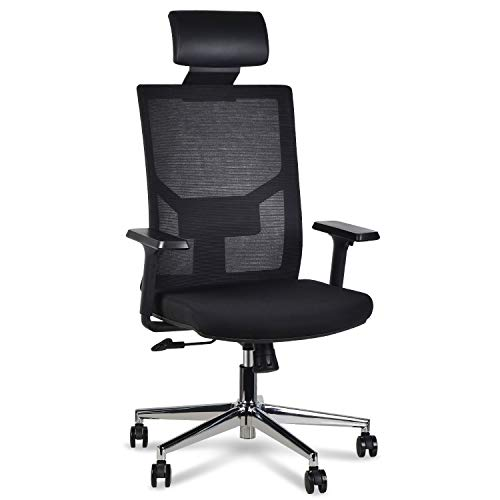 LENTIA Chefsstuhl Bürostuhl aus Netz Schreibtischstuhl hohe lehne Drehstuhl Computerstuhl mit verstellbare Kopfstütze, Armlehnen und Lendenwirbelstütze Höhenverstellung Chefsstuhl 350LB (schwarz1)