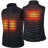 CONQUECO Damen Jacken Beheizte Daunenjacke Wasserdicht Winddicht warm Schwarz Heiz-Jacke mit Akku und Ladeger/ät zum Outdoor Arbeiten T/ägliches Tragen