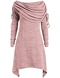 4b96af99ebf HOOUDO Womens Plus Size Fashion Solid Ruched Long Foldover Collar Tunic Top  Blouse Tops Dress