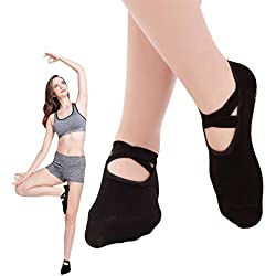SANIQUE 2 pares Mujer Calcetines de yoga Pilates Calcetines Fitness/Danza/Ballet Calcetín Tamaño UK 2,5-7/EU 35-40 (Negro)