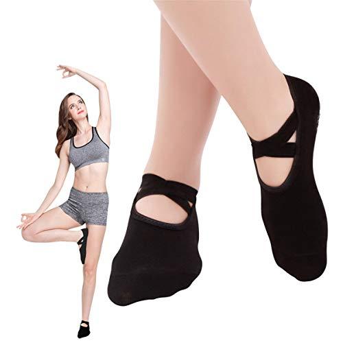 SANIQUEEN.G 2 Paar Damen Rutschfeste Yoga Socken Non Skid Socken Barre Socken Ballett Socken für Pilates, Fitness,Barre und Tanz EU 34-40 (Schwarz)
