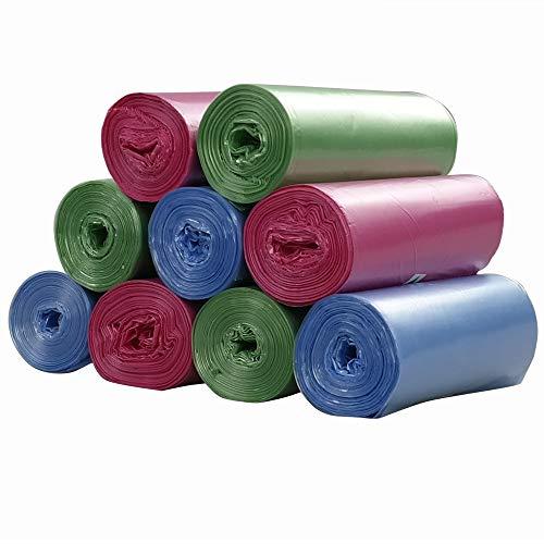Ordate 180 conta 10 l piccolo plastica sacchi spazzatura sacchi pattumiera sacchetti da immondizia, colore blu verde rosa, 9 rotoli
