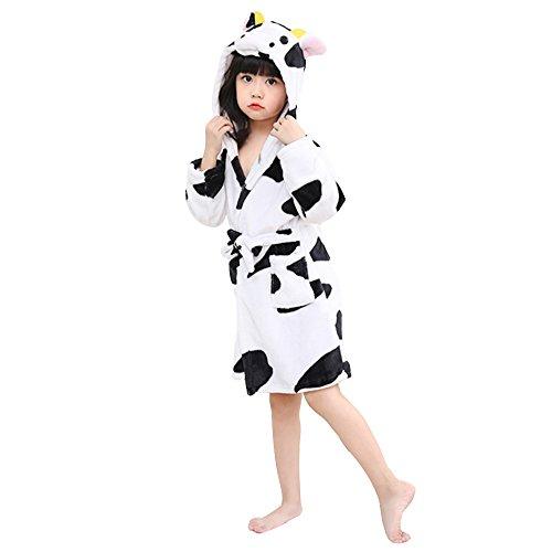 Mystery&Melody Kinder Cow Bademantel Flanell mit Kapuze Pyjamas Cosplay Kostüme Unisex Tiere Kleid (Für Kinder Kuh-pyjama)