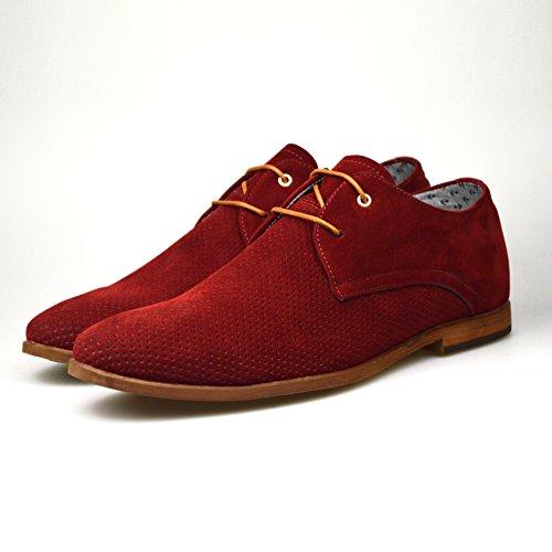 Pour Homme New Fashion Marron Noir Rouge Bleu marine en Daim à lacets Smart Casual Chaussures Taille UK 67891011 Marron - rouge