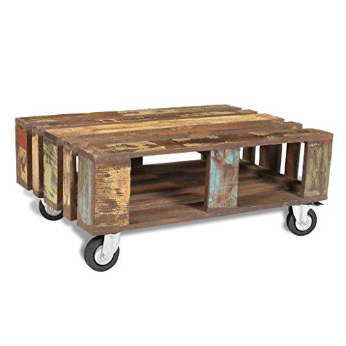Festnight Table Basse Ancienne Bois Multi-Couleur avec 4 roulettes