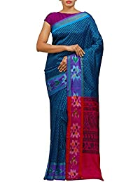 Unnati Silks Women Printed Blue-Pink Bengal Soft Silk Saree With Blouse From The Weavers Of West Bengal (UNM25922)