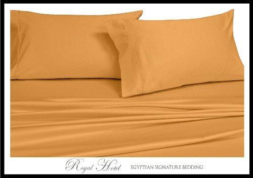 Satin-streifen-600-thread (Royal Hotel der soliden 600-thread-count 4california-king unattached-waterbed Bettlaken-Set aus 100% ägyptischer Baumwolle, Satin Solid, deep Pocket, baumwolle, gold, California King)