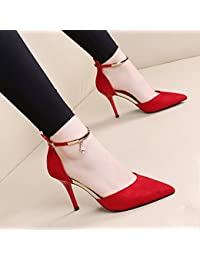 SHOESHAOGE Los Tacones Altos Rojo Zapatos De Boda OL Bien con Zapatos De Mujer Señaló Diamante Hueco con Zapatos...