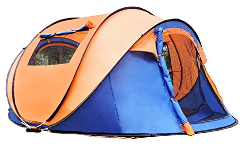 Ghlee Familie 2 Sekunden Automatik Einfache Pop Up Zelt Camping Wandern Outdoor 3-4 Person Gesch windigkeit offen Strand Angeln Camping Wandern Reisezelte 250 x 150 x 110CM (98 x 59 x 43 Zoll) blau orange…