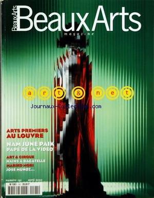 BEAUX ARTS [No 191] du 01/04/2000 - ARTS PREMIERS AU LOUVRE - NAM JUNE PAIK - PAPE DE LA VIDEO - ART ET CIRQUE - NAINS A BAGATELLE - MAROKI MORI - JOSE MUNOZ