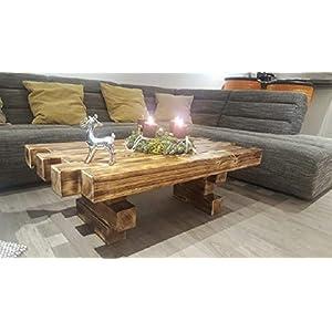 """Couchtisch """"Allgäu"""" aus Paletten – Balken – Handmade – Wohnzimmertisch aus Holz – Abgeflammt – Geölt Massiv MASSIV…"""
