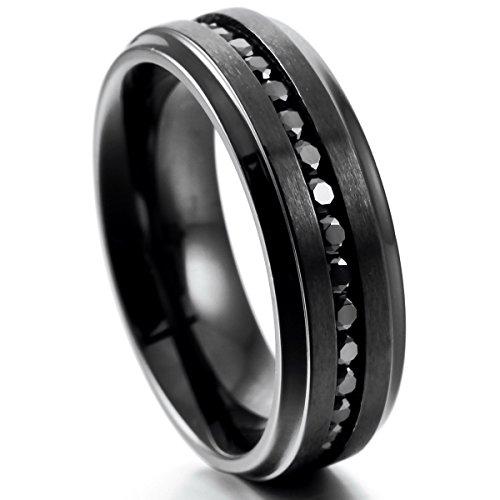 MunkiMix 7mm Edelstahl Ewigkeit Ewig Ring Band CZ Zirkon Zirkonia Schwarz Hochzeit Wedding Eheringe Engagement Verlobungsringe Verlobung Größe 57 (18.1) Herren (Cz Hochzeit Ringe Größe 5 1 2)