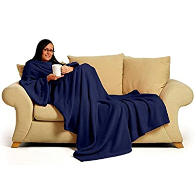 Snug~Rug 60 x 84-inch Adult Deluxe Coral The Blanket with Sleeves Fleece, Navy Blue - low-cost UK light shop.