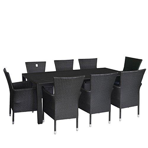 9tlg. Gartengarnitur Terrassenmöbel Set Aluminium Polywood Tisch 205x90cm Alu Poly-Rattan Sessel stapelbar Polyrattan Gartensessel inkl. Sitzkissen Stapelstuhl Sitzgarnitur Sitzgruppe